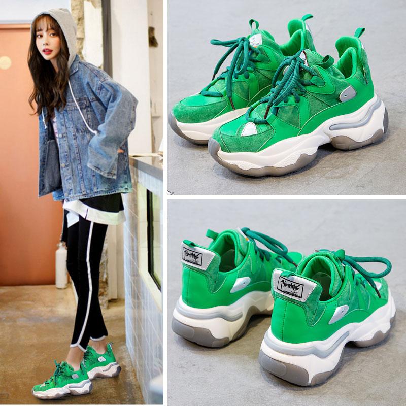 绿色运动鞋 欧洲站真皮老爹鞋子春季新款女拼色ins潮休闲运动绿色厚底松糕鞋_推荐淘宝好看的绿色运动鞋