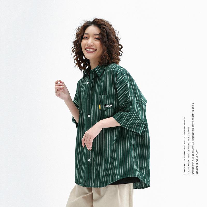 男士休闲衬衫 CLAMISGOLD国潮街头复古绿色条纹短袖衬衫男女休闲五分袖衬衣青年_推荐淘宝好看的男休闲衬衫