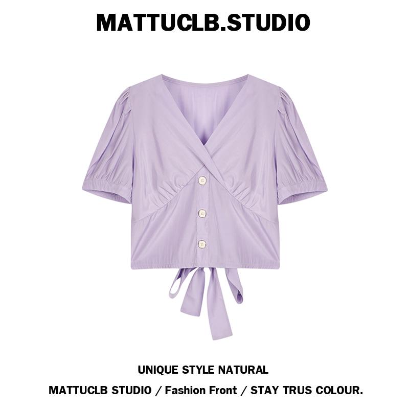 紫色雪纺衫 紫色短款衬衫女2020夏装新款系带设计感小众上衣泡泡袖V领雪纺衫_推荐淘宝好看的紫色雪纺衫