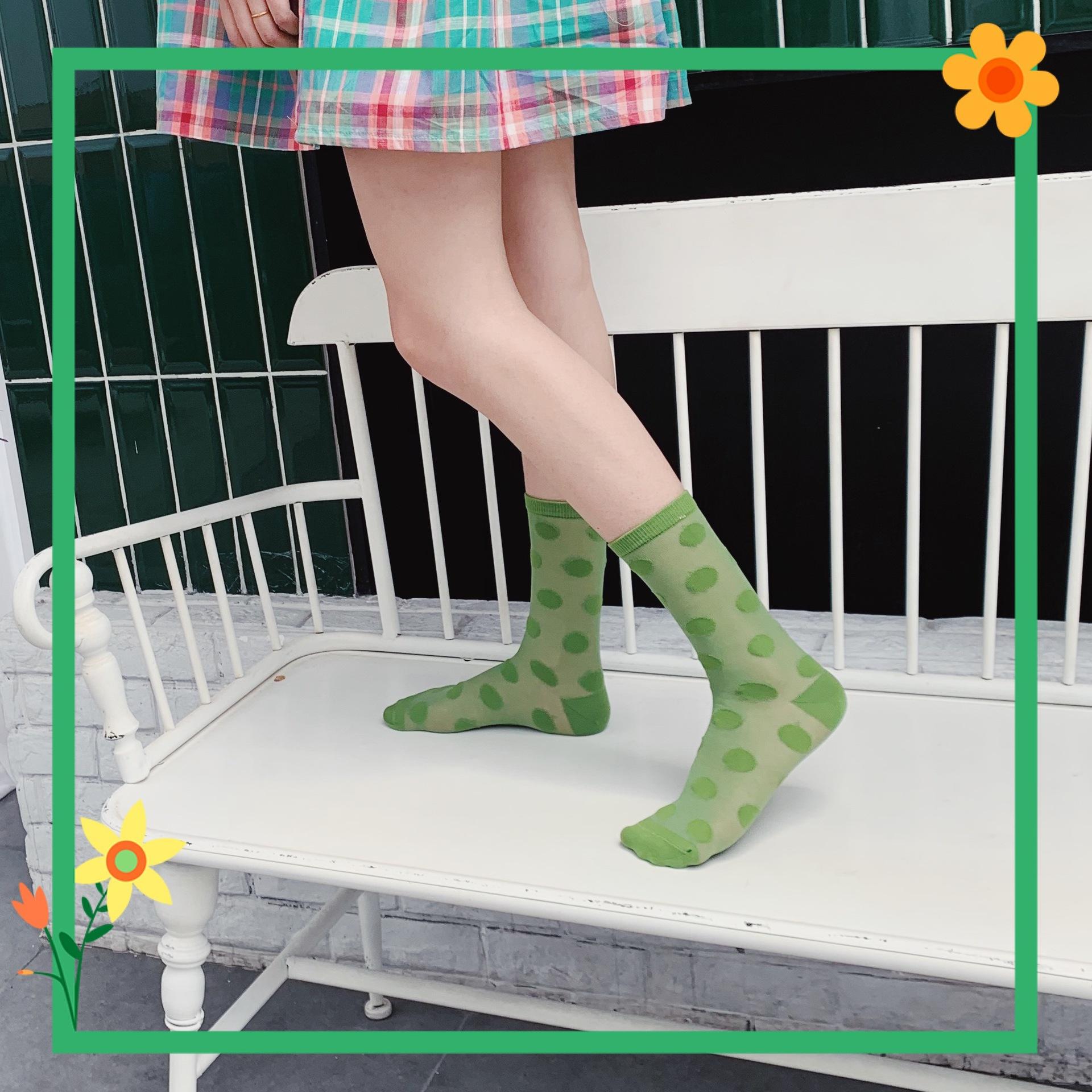 糖果色短丝袜 2021新款日系女士短丝袜夏季薄款波点袜子女潮圆点中筒袜糖果色_推荐淘宝好看的糖果色短丝袜