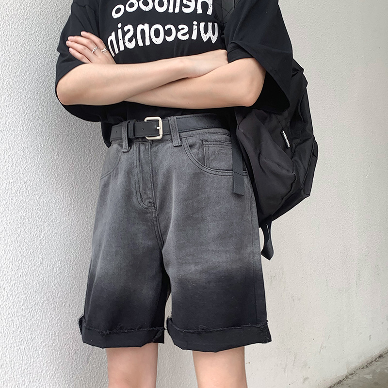 大码牛仔短裤 夏季大码牛仔烟灰色五分裤女胖妹妹mm宽松直筒短裤200斤高腰复古_推荐淘宝好看的女大码牛仔短裤