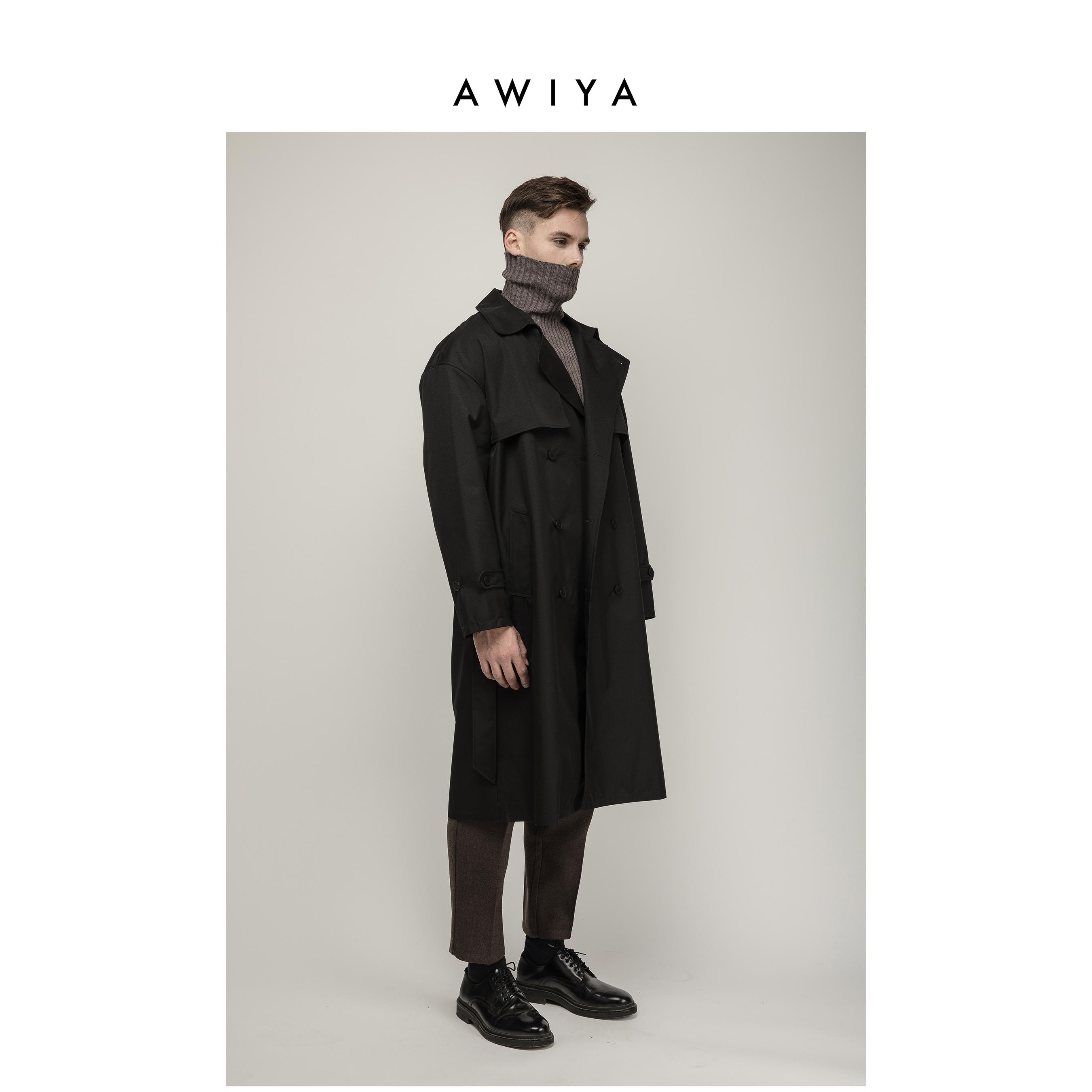 双排扣风衣 AWIYA璈雅 M303 新款英伦风2020流行中长款双排扣休闲风衣外套男_推荐淘宝好看的双排扣风衣
