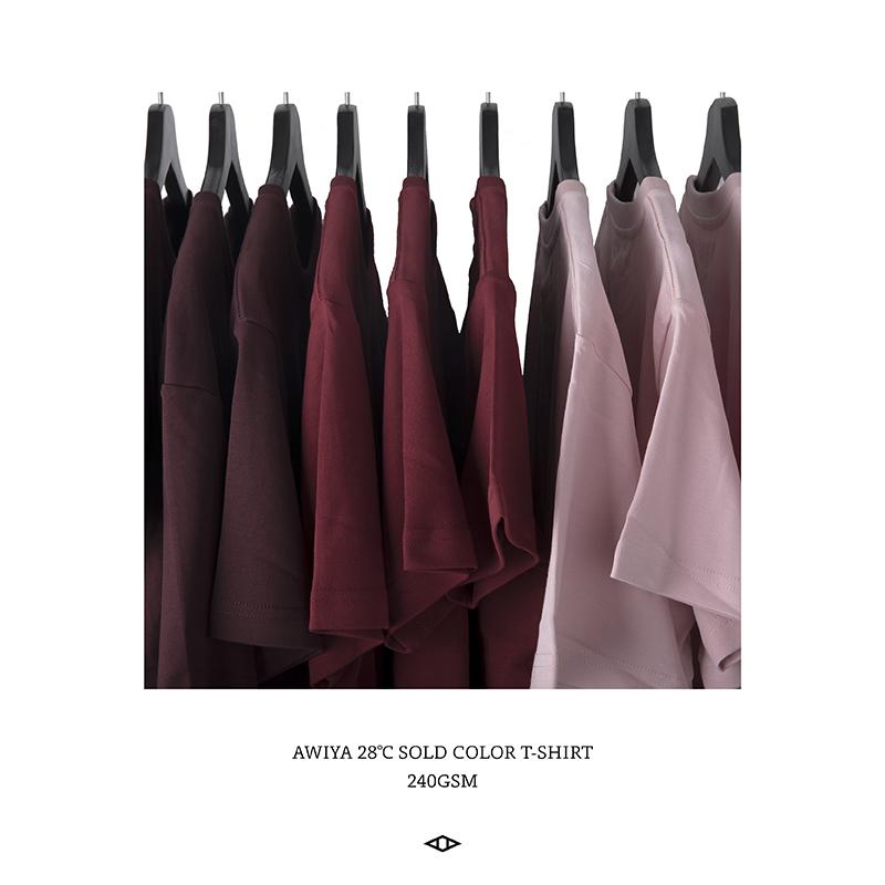 红色T恤 AWIYA璈雅 28℃红色系列 男女短袖宽松t恤潮简约百搭情侣款 M12_推荐淘宝好看的红色T恤