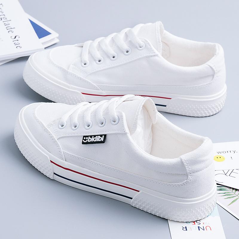 白色厚底鞋 2021年春夏季薄款帆布鞋白色透气小白鞋新款厚底女鞋爆款百搭板鞋_推荐淘宝好看的白色厚底鞋