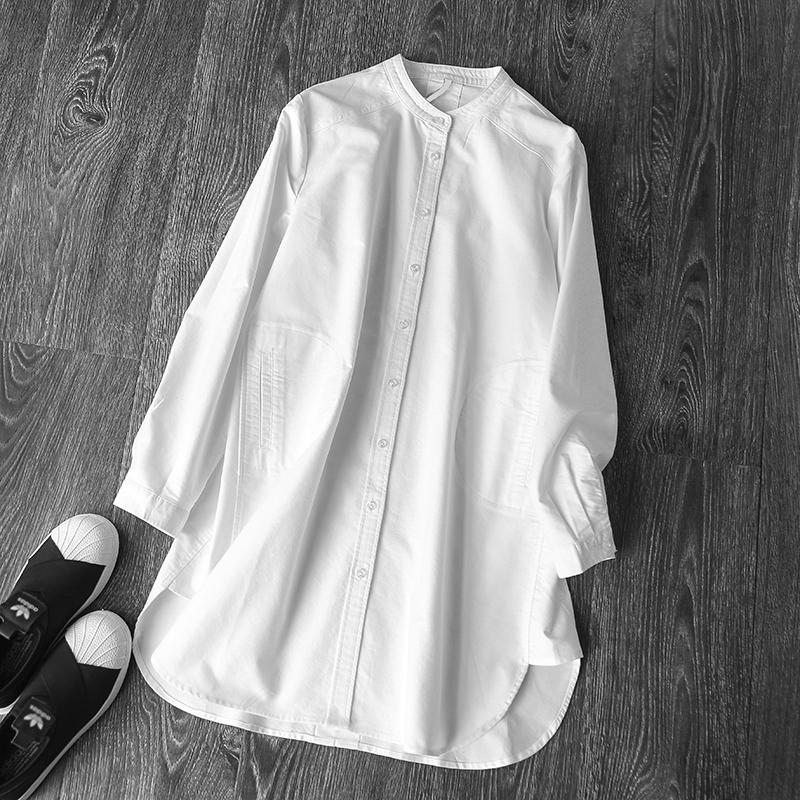 大码长衬衫 欧美春秋立领显瘦中长款纯棉白衬衣女装长袖宽松休闲衬衫上衣大码_推荐淘宝好看的大码长衬衫