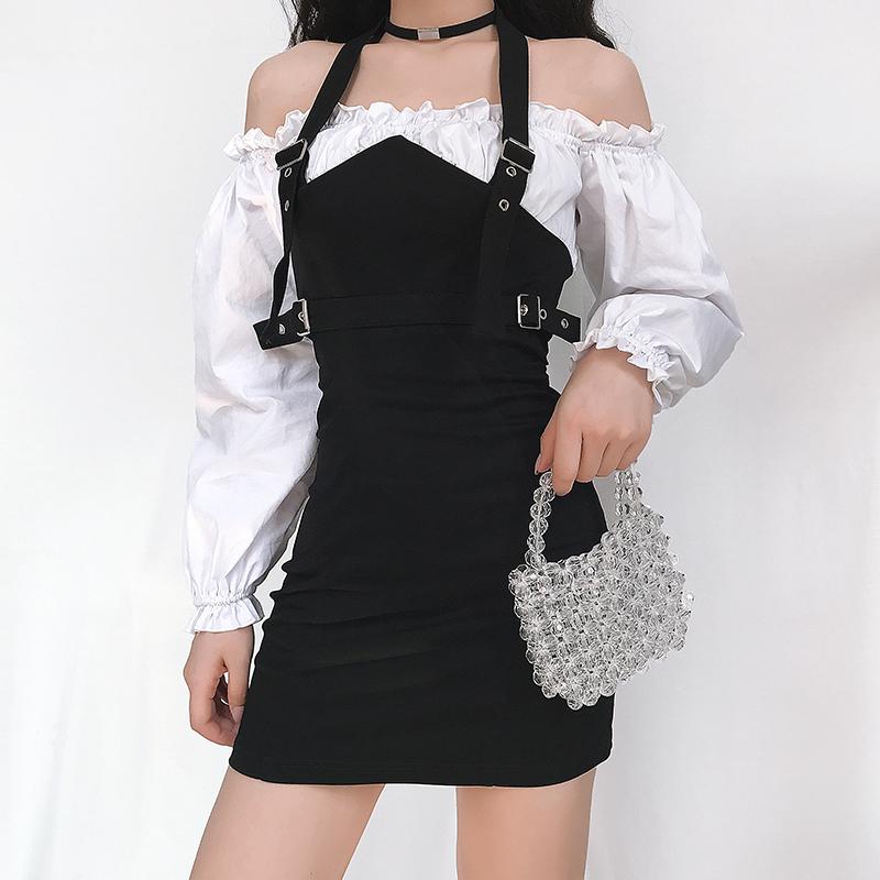 黑色连衣裙 Amyway欧美少女风气质复古假两件一字肩连衣裙女百搭显瘦挂脖短裙_推荐淘宝好看的黑色连衣裙