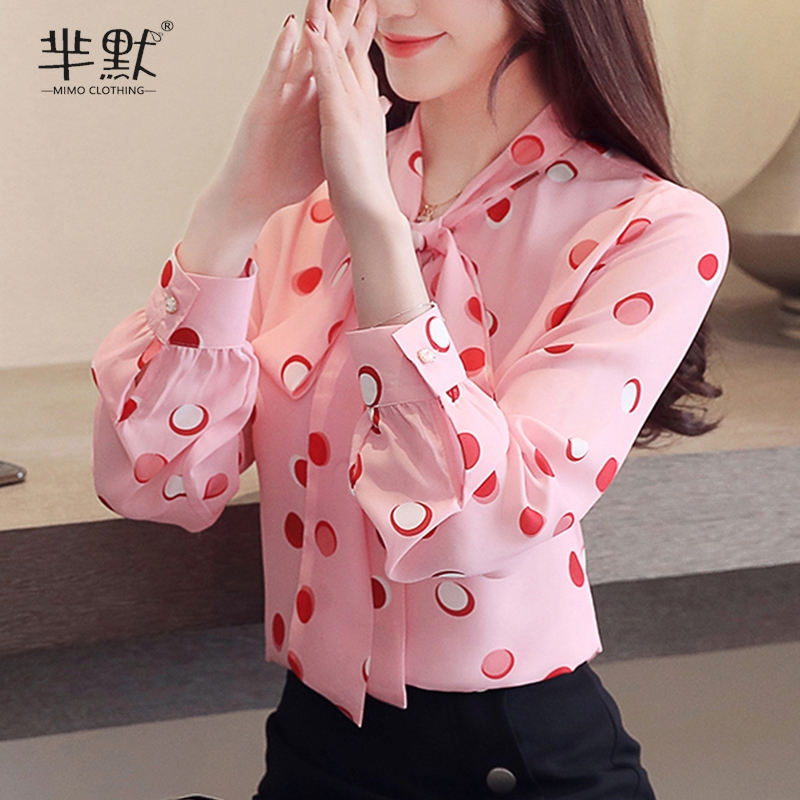 红色波点衬衫 2020春装新款韩版蝴蝶结波点雪纺衬衫女长袖碎花洋气百搭粉色上衣_推荐淘宝好看的红色波点衬衫