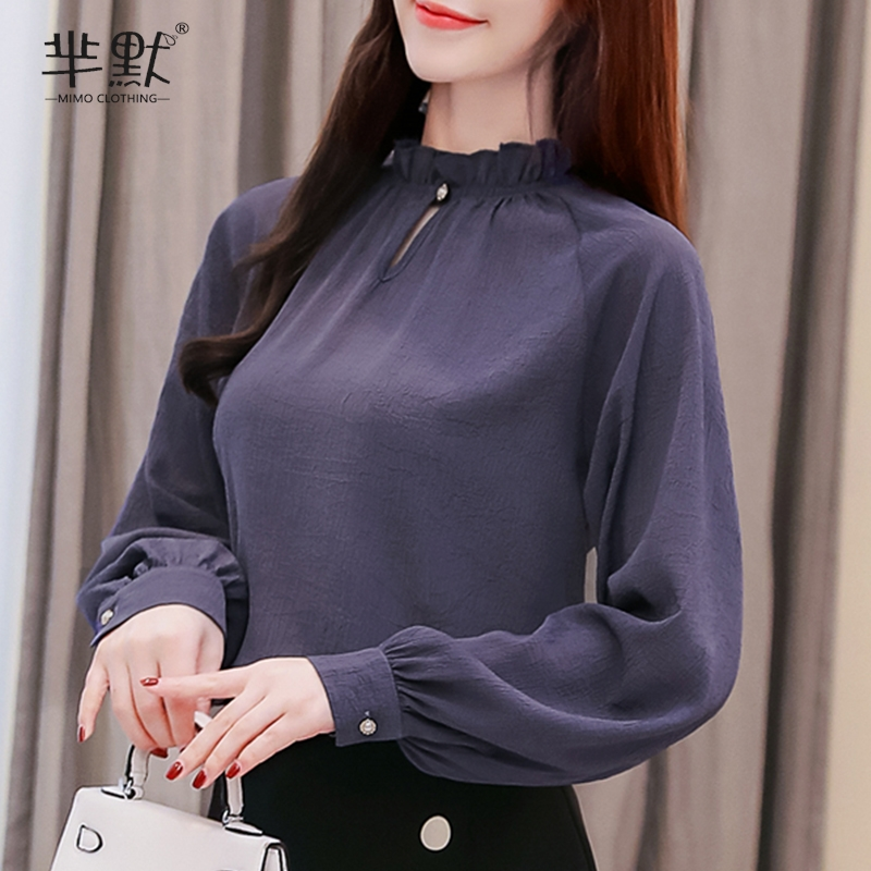 紫色雪纺衫 2020新款雪纺衫衬衫灯笼长袖木耳边圆领宽松显瘦遮肚子打底上衣女_推荐淘宝好看的紫色雪纺衫
