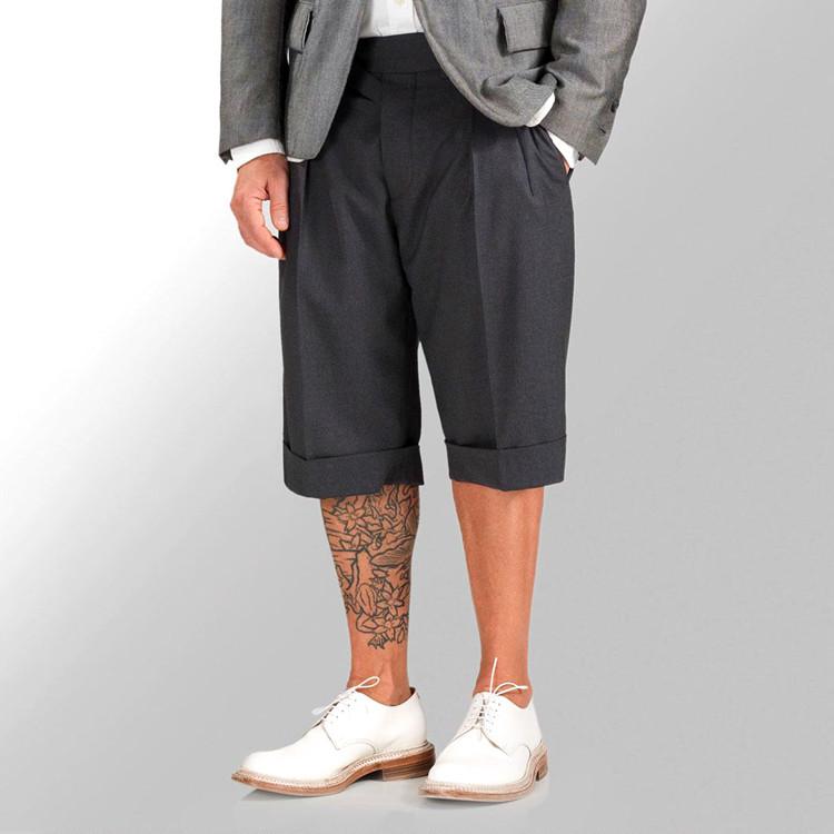 欧美西装男 Nick Wooster宽松六分裤西装短裤双褶廓尔格阔腿6分男裤欧美复古_推荐淘宝好看的欧美西装男