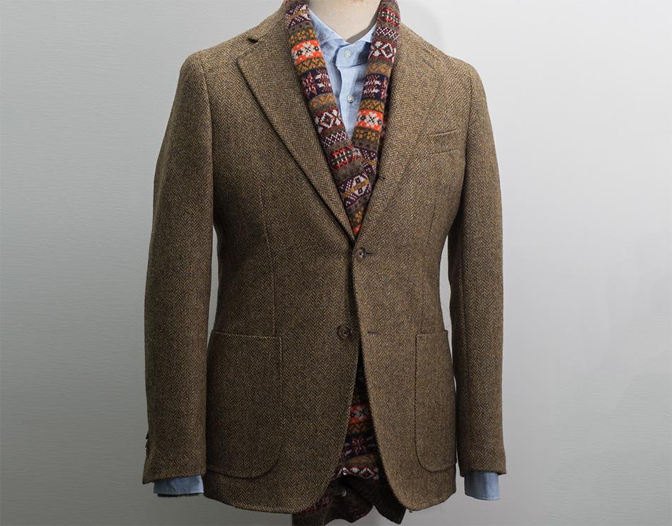 男士修身西装 美式修身秋冬休闲上衣男 复古条纹羊毛人字纹毛呢西装西服外套男_推荐淘宝好看的男修身西装