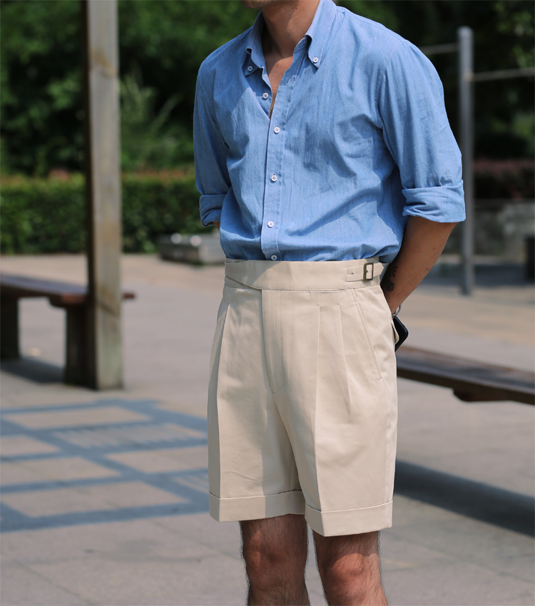 欧美西装男 男欧美复古工装短裤男士纯棉Gurkha双褶全棉廓尔喀格西装五分裤子_推荐淘宝好看的欧美西装男