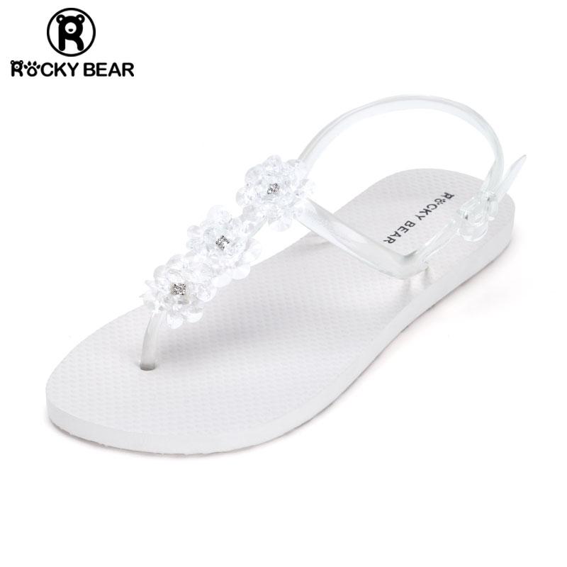 平底凉鞋 ROCKYBEAR洛克熊透明凉鞋2020新款女夏软底平底时尚水晶鞋果冻鞋_推荐淘宝好看的女平底凉鞋