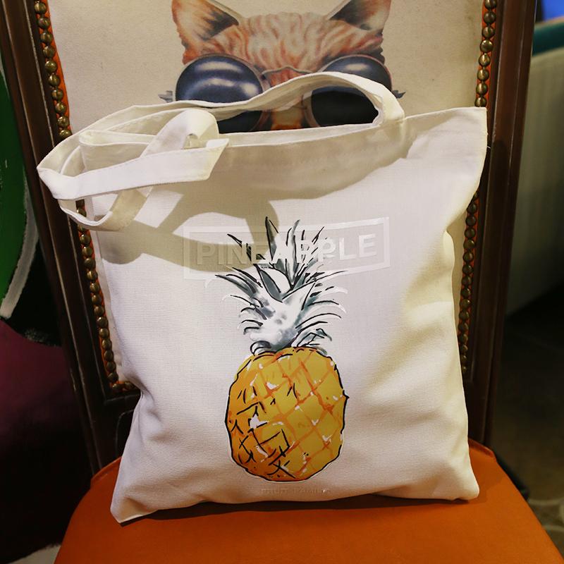 旅行帆布包 韩国清新菠萝度假风拉链单肩帆布袋文艺斜跨帆布包旅行购物袋女式_推荐淘宝好看的女旅行帆布包