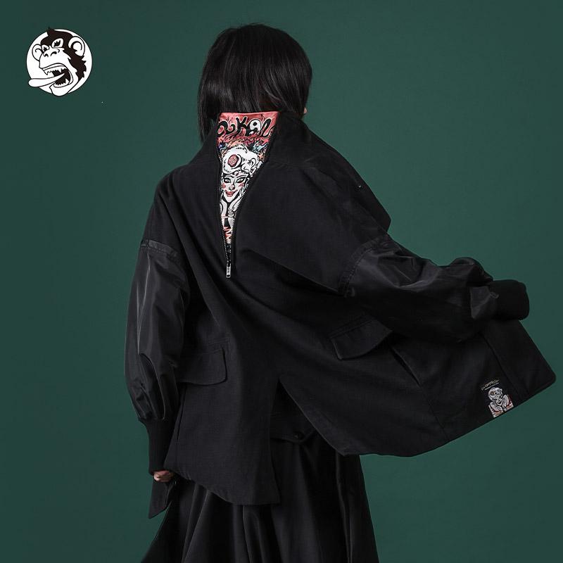 短款风衣 wookong悟空女装春秋新款金鼻白毛鼠短款印花风衣女士暗黑风外套_推荐淘宝好看的女短款风衣