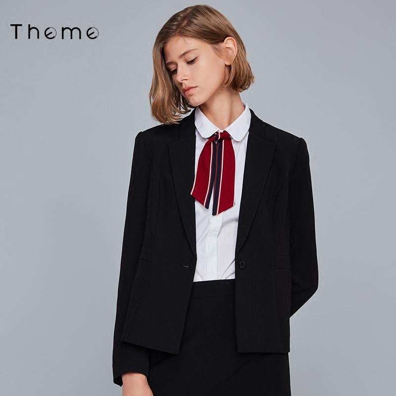 修身小西装 Theme女装2021春季季新品职业OL修身长袖纯色单扣小西装外套女_推荐淘宝好看的女修身小西装