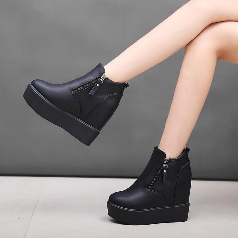 坡跟鱼嘴鞋 新款厚底内增高女靴闲女鞋短靴秋冬松糕坡跟加绒棉鞋高跟鞋P50_推荐淘宝好看的女坡跟