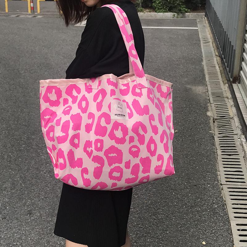 粉红色帆布包 NOBAG粉红色豹纹包大容量托特包动物纹帆布包女单肩手提包2021_推荐淘宝好看的粉红色帆布包
