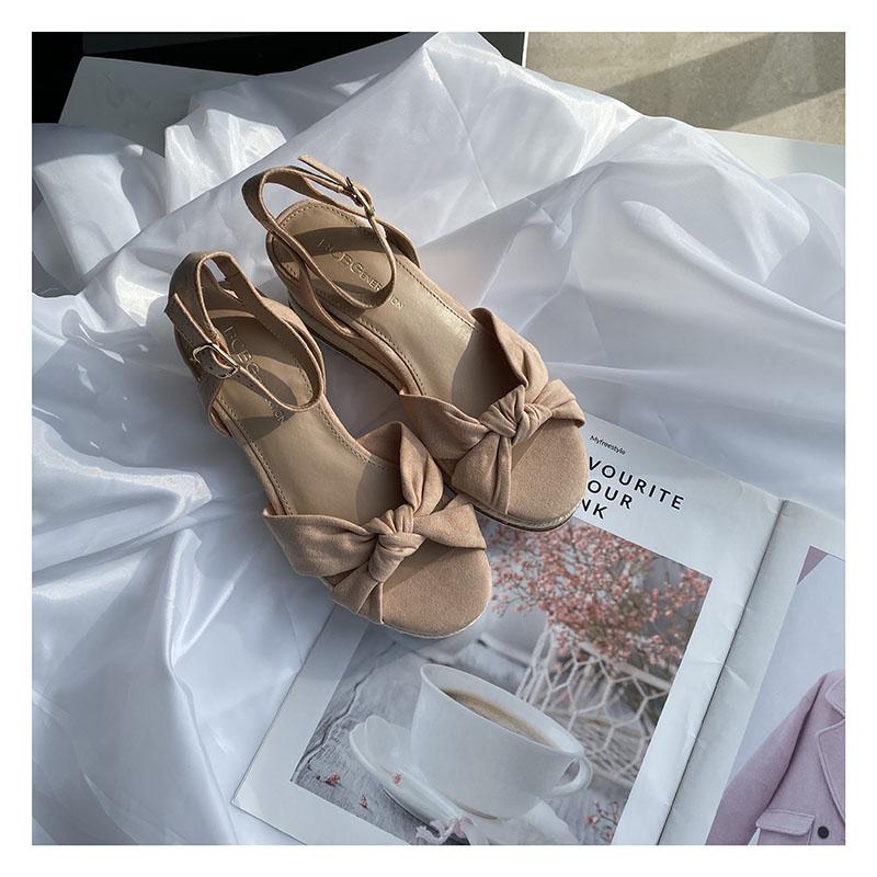 粉红色坡跟鞋 夏季凉鞋粉红色坡跟蝴蝶结编织少女甜美女鞋ins风搭裙子_推荐淘宝好看的粉红色坡跟鞋