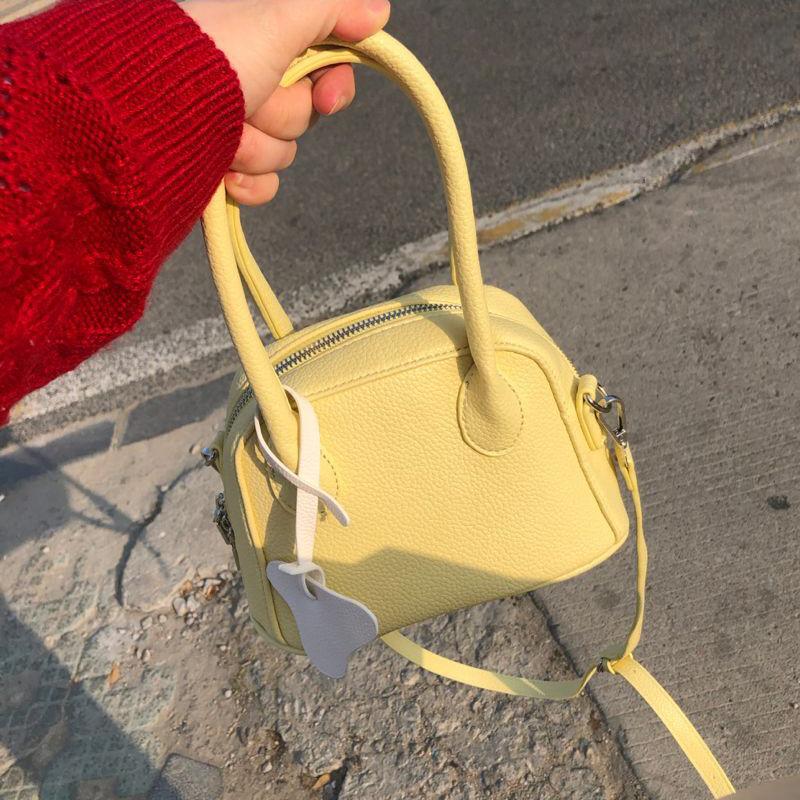 黄色贝壳包 奶黄色包包小贝壳包手提包超奶荔枝纹斜挎包设计感单肩斜挎包包_推荐淘宝好看的黄色贝壳包