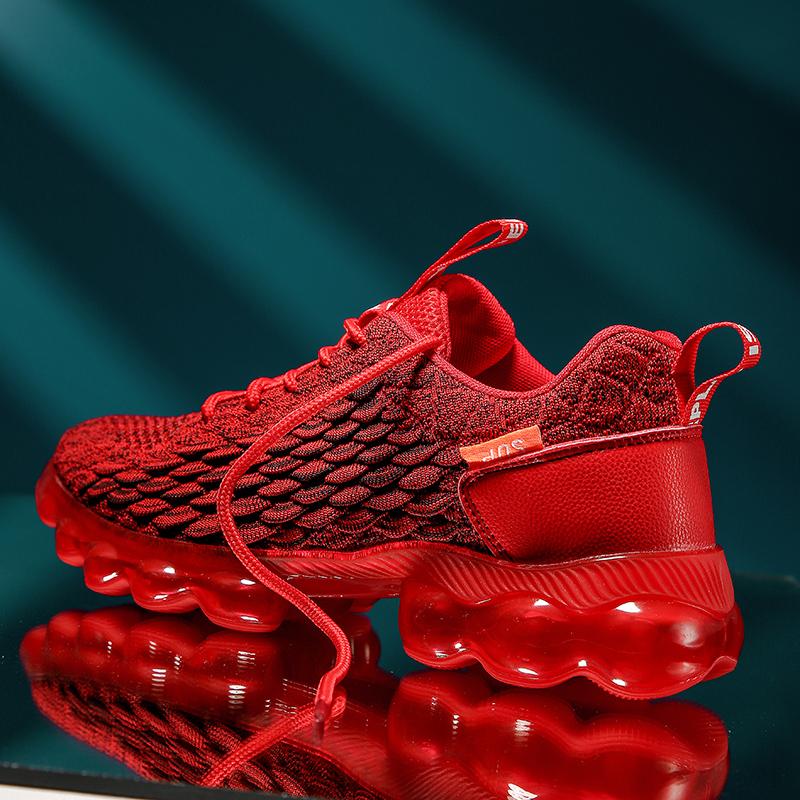 红色运动鞋 2021新款男鞋气垫鞋子男潮夏季透气运动鞋红色跑鞋老爹鞋ins红鞋_推荐淘宝好看的红色运动鞋