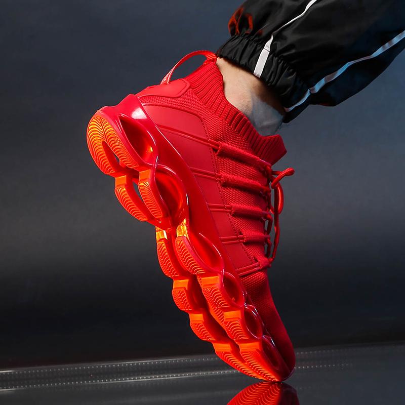 红色运动鞋 男鞋秋冬季2020新款运动休闲跑步鞋防滑软底轻便针织防臭透气红色_推荐淘宝好看的红色运动鞋