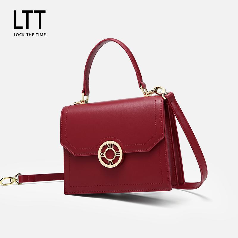 红色手提包 LTT真皮女包单肩斜挎手提包包2020新款潮ins时尚网红色结婚新娘包_推荐淘宝好看的红色手提包