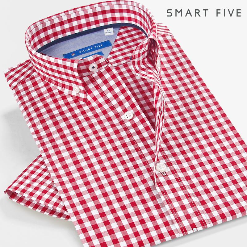 红色衬衫 第五季夏季新品修身红色格子衬衫男短袖时尚格纹衬衣纯棉休闲免烫_推荐淘宝好看的红色衬衫