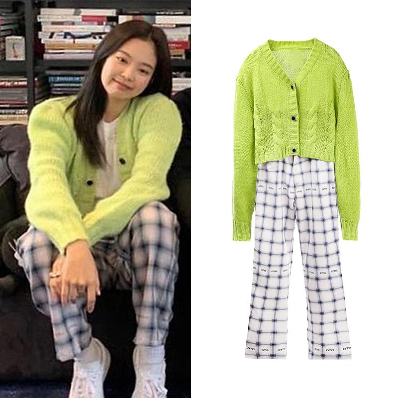 绿色针织衫 Jennie金智妮江疏影妮同款绿色短款V领毛衣针织衫开衫短外套上衣_推荐淘宝好看的绿色针织衫