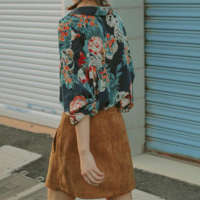 法式衬衫 chic复古美术法式巴黎风情印花衬衫女2021新款花卉油画慵懒风上衣_推荐淘宝好看的女法 衬衫
