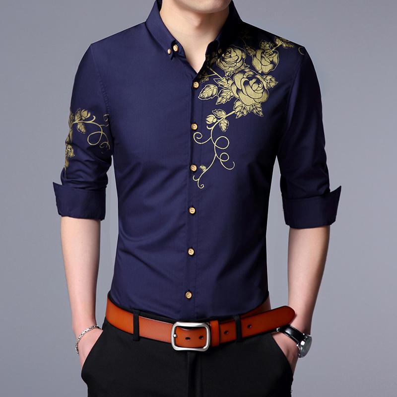 男装衬衫 长袖寸衬衫男士中青年春天薄款碎花商务免烫棉上衣服单外穿衬衣土_推荐淘宝好看的男衬衫