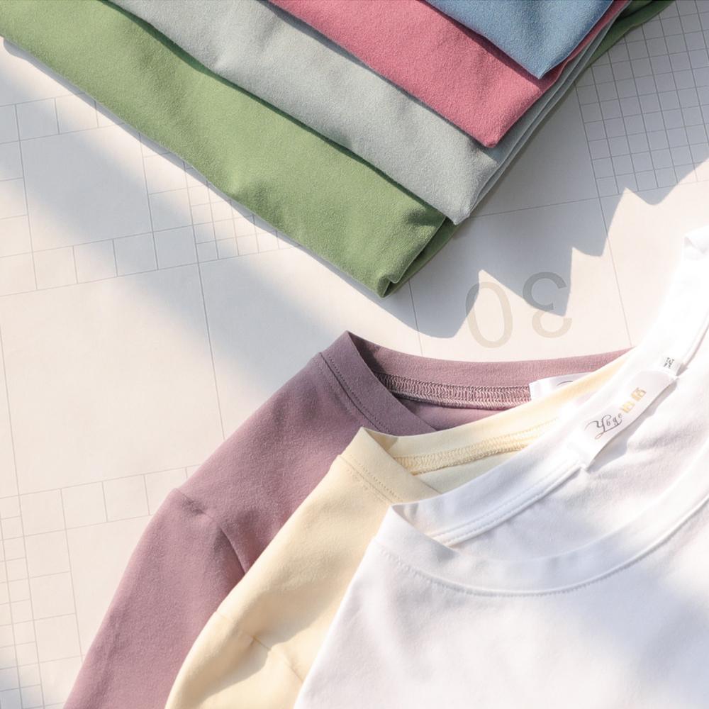 紫色T恤 2021年夏新疆棉白色紫色t恤女圆领宽松纯白纯色纯棉短袖女雾霾蓝_推荐淘宝好看的紫色T恤