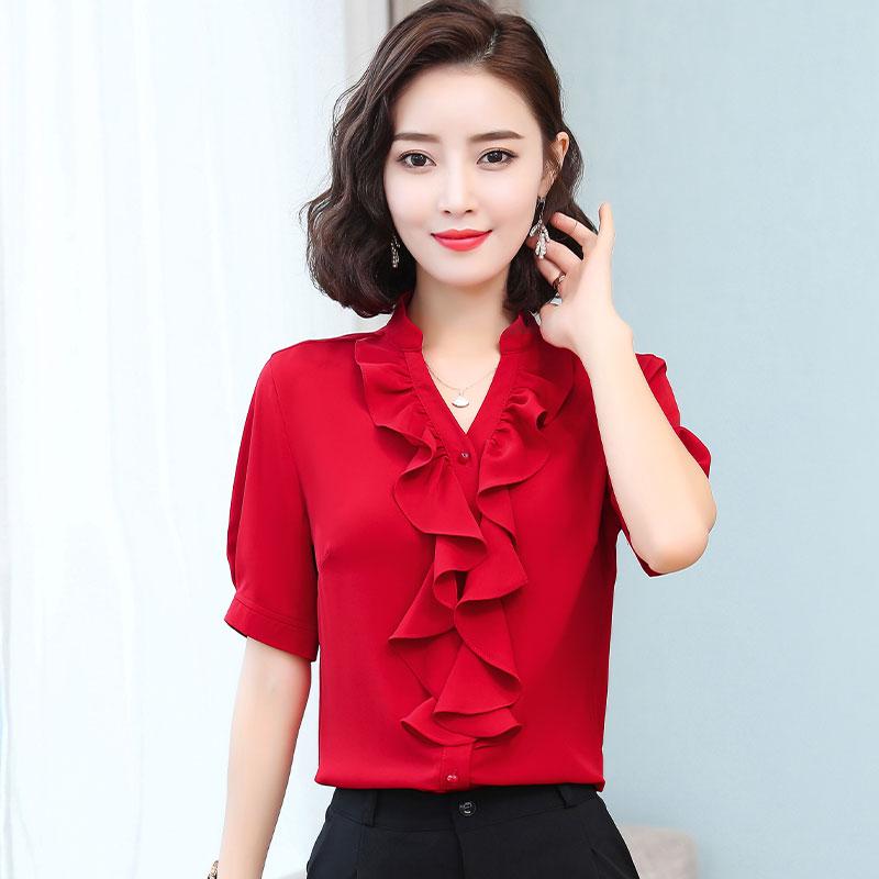红色雪纺衫 红色雪纺衬衫女2021夏装新款气质v领荷叶边洋气宽松衬衣短袖上衣_推荐淘宝好看的红色雪纺衫