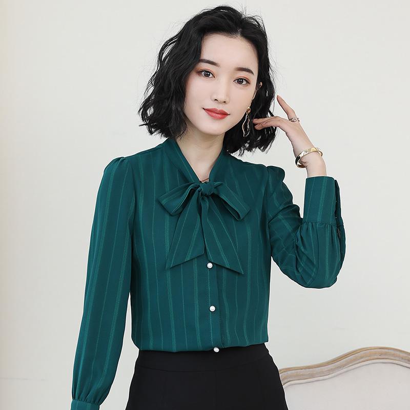 绿色雪纺衫 2021春装新款秋季蝴蝶结绿色雪纺衬衫女长袖韩版宽松打底衬衣上衣_推荐淘宝好看的绿色雪纺衫