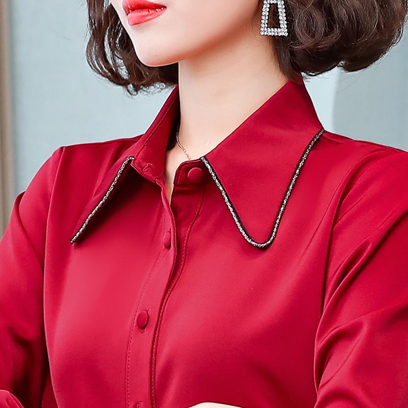 红色雪纺衫 红色雪纺衬衫女长袖衬衣2021年春秋新款时尚洋气气质打底职业上衣_推荐淘宝好看的红色雪纺衫