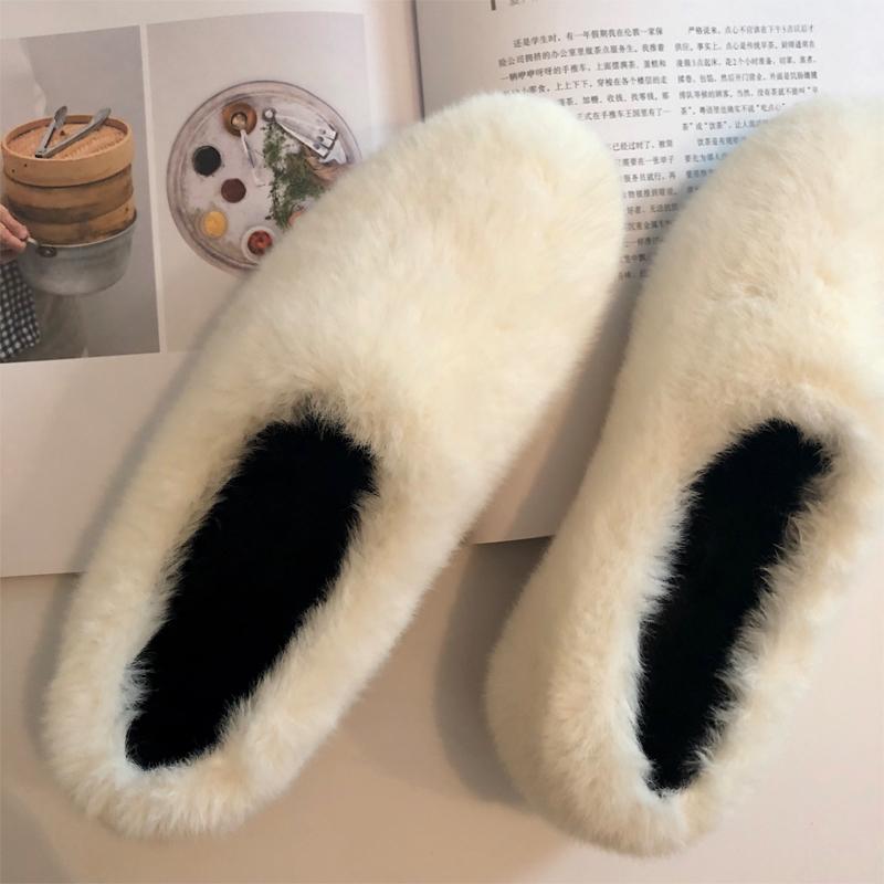 白色豆豆鞋 2020秋冬季白色毛毛鞋女外穿网红羊羔毛单鞋一脚蹬内增高加绒豆豆_推荐淘宝好看的白色豆豆鞋