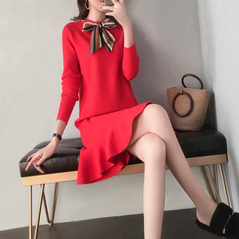 红色连衣裙 红色针织连衣裙2019新款女装秋冬季打底宽松中长款内搭鱼尾毛衣裙_推荐淘宝好看的红色连衣裙