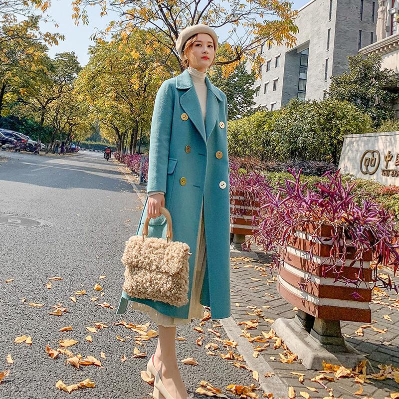 毛呢韩版外套 2020秋冬新款双面羊绒大衣女中长款过膝韩版流行双排扣羊毛呢外套_推荐淘宝好看的女毛呢韩版外套