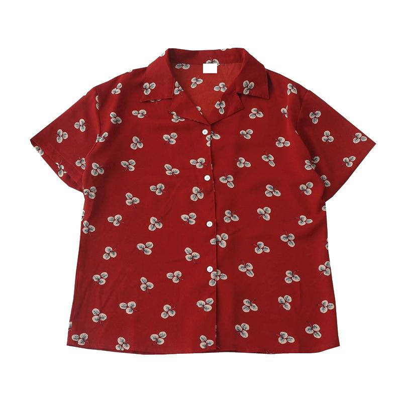 红色雪纺衫 复古红色小碎花小翻领衬衫女2020新款夏装港味宽松短袖雪纺衫上衣_推荐淘宝好看的红色雪纺衫