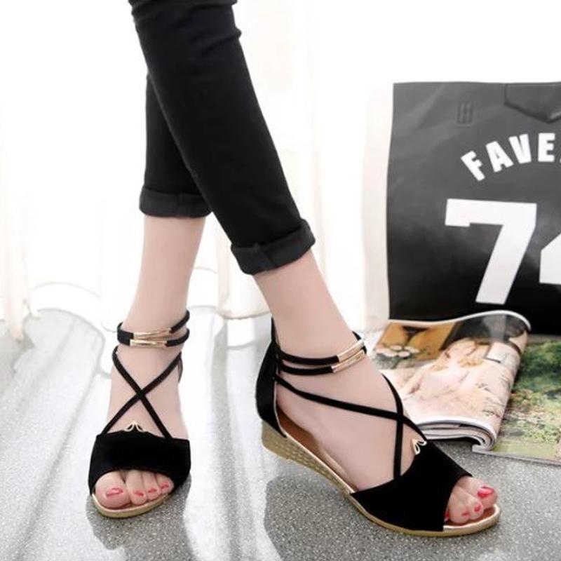 少女平底罗马鞋 2020新款韩版凉鞋女夏平底罗马鞋学生少女鞋子中跟小坡跟百搭绒面_推荐淘宝好看的女少女平底罗马鞋