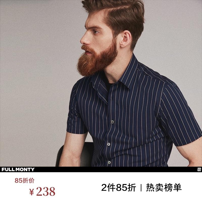 黑色衬衫 FULL MONTY条纹短袖衬衫男士商务休闲纯棉藏青色衬衣夏季黑色修身_推荐淘宝好看的黑色衬衫