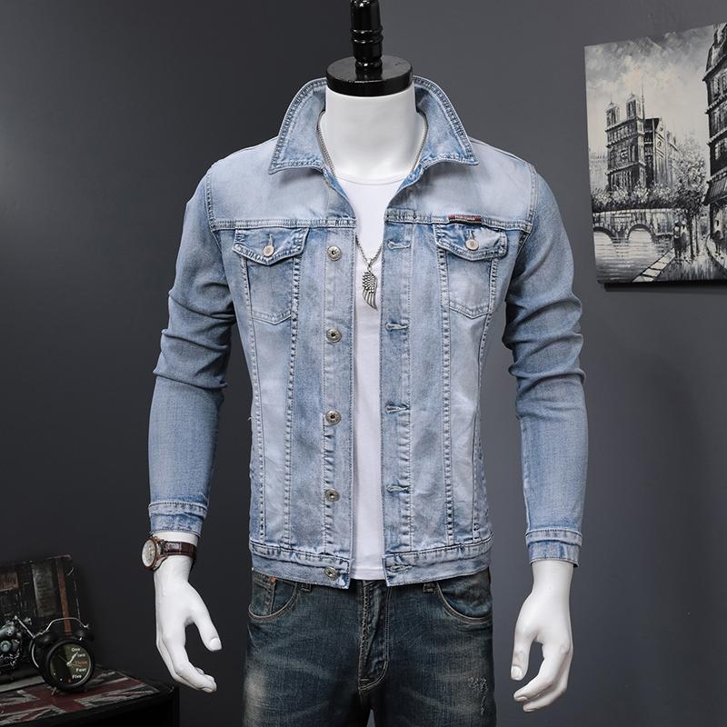 牛仔夹克 2021春秋季新款水洗长袖夹克男欧美浅蓝牛仔上衣时尚潮流外套ins_推荐淘宝好看的男牛仔夹克