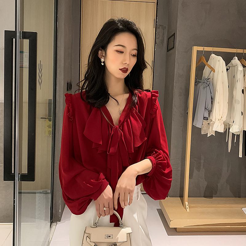 红色雪纺衫 2021新款红色雪纺衬衫女复古灯笼袖气质荷叶边v领蝴蝶结上衣超仙_推荐淘宝好看的红色雪纺衫