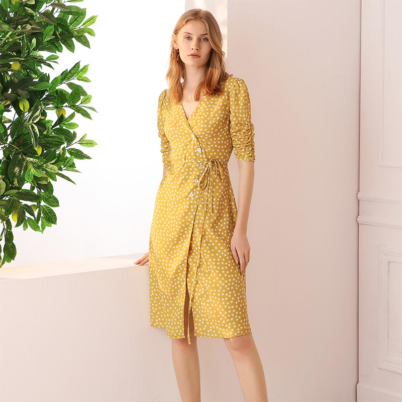 黄色连衣裙 simple retro黄色波点连衣裙夏复古雪纺碎花桔梗法式茶歇裹身裙女_推荐淘宝好看的黄色连衣裙
