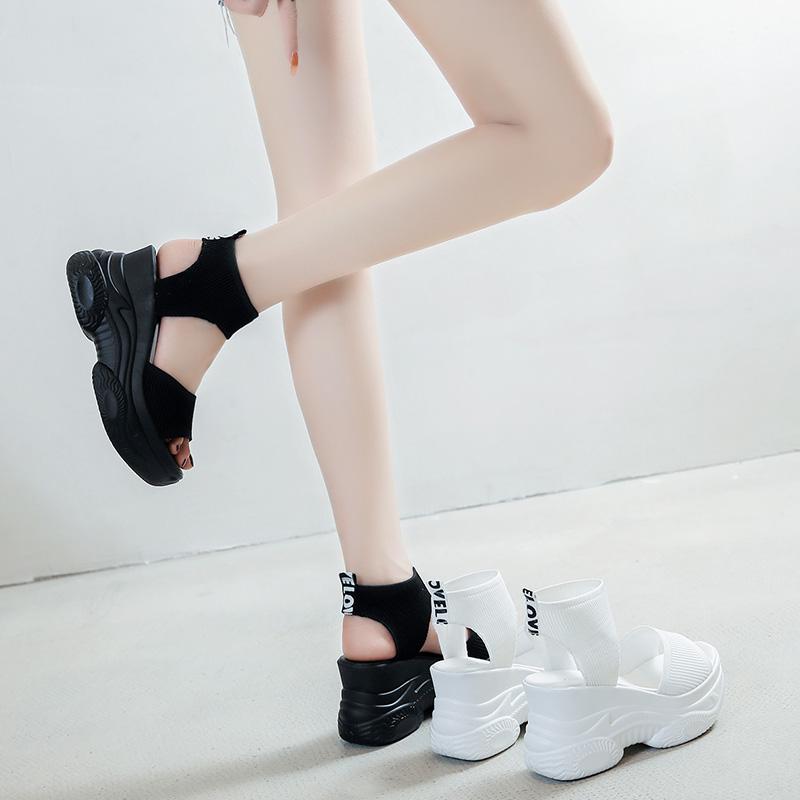 松糕厚底凉鞋 凉鞋女仙女风2021年夏季新款时尚百搭厚底坡跟松糕罗马时装女鞋子_推荐淘宝好看的女松糕厚底凉鞋