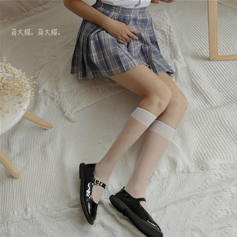 制服丝袜 jk制服袜白色丝袜不过膝夏季短女超薄款ins潮透明中筒长小腿袜子_推荐淘宝好看的制服丝袜