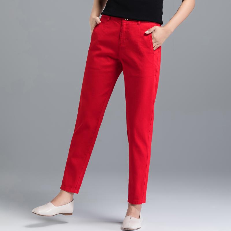 红色牛仔裤 2021春秋新款红色牛仔裤女宽松显瘦哈伦裤子九分裤大码妈妈萝卜裤_推荐淘宝好看的红色牛仔裤