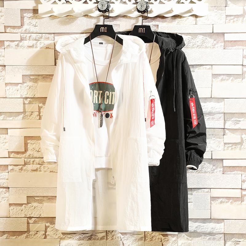 白色风衣 夏季防晒衣服男士中长款连帽韩版宽松风衣白色披风大码外套超薄款_推荐淘宝好看的白色风衣