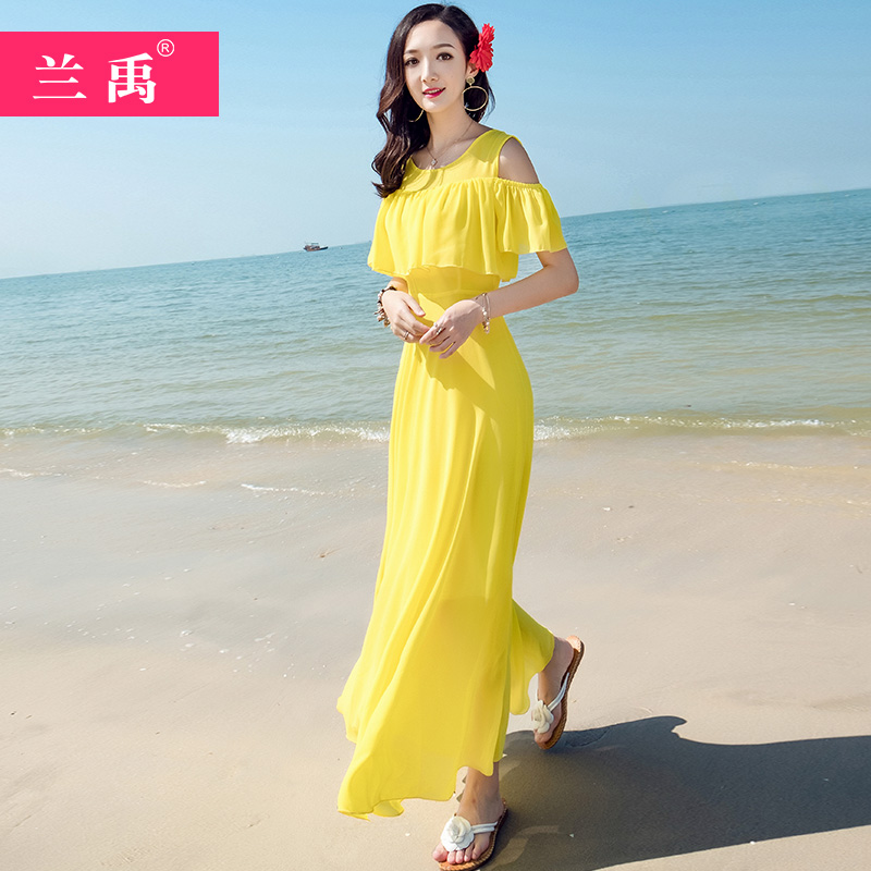 黄色连衣裙 很仙的雪纺连衣裙夏2020新款吊带大摆黄色沙滩裙修身显瘦超仙长裙_推荐淘宝好看的黄色连衣裙