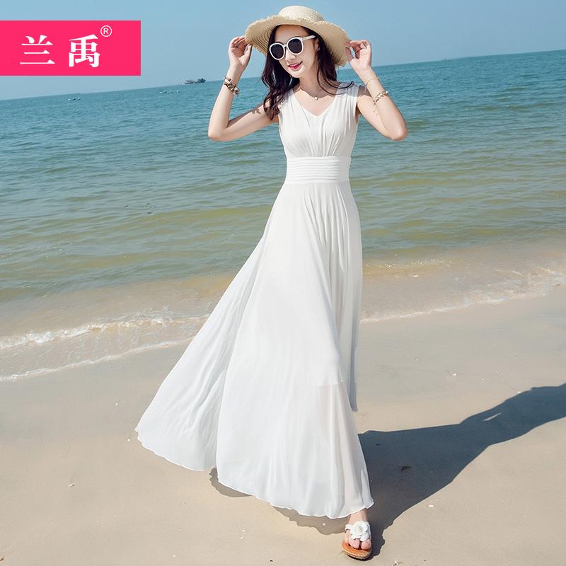 黄色连衣裙 2020白色雪纺连衣裙夏新款显瘦三亚大摆长裙巴厘岛海边度假沙滩裙_推荐淘宝好看的黄色连衣裙