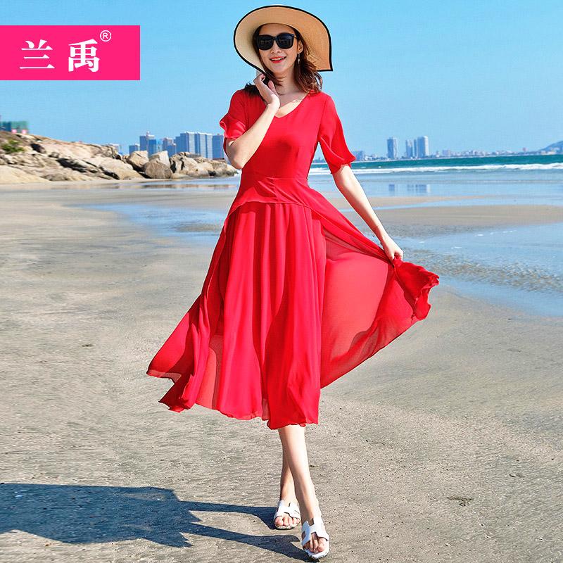 淘宝商城连衣裙 波西米亚沙滩裙2021夏季仙女裙显瘦巴厘岛红色度假连衣裙复古长裙_推荐淘宝好看的连衣裙